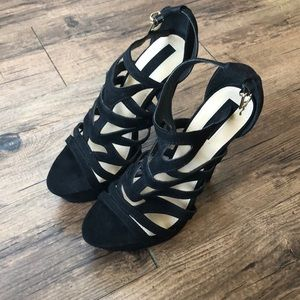 Forever21 Black Strappy High Heels Size 8